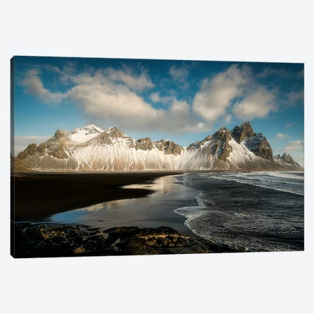 Stokksnes Mountain And Beach In Iceland Canvas Print #PHM193} by Philippe Manguin Canvas Art