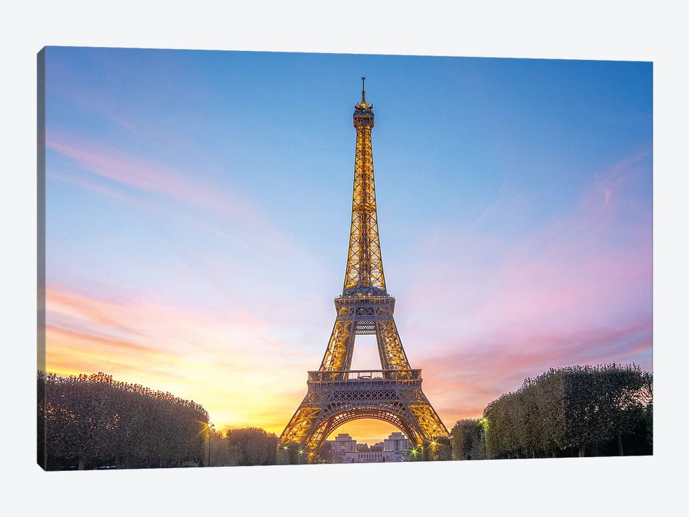 Sunset On The Eiffel Tower In Paris by Philippe Manguin 1-piece Canvas Art