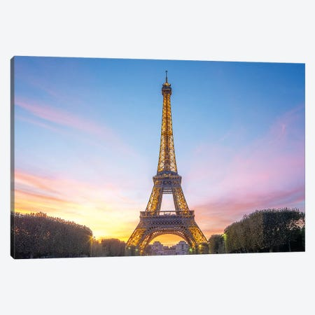 Sunset On The Eiffel Tower In Paris Canvas Print #PHM195} by Philippe Manguin Canvas Art Print