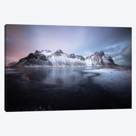 Blue Hour On Stokksnes In Iceland Canvas Print #PHM19} by Philippe Manguin Canvas Artwork