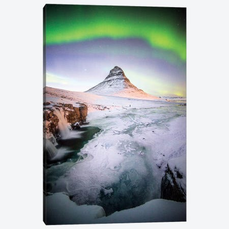 The Kirkjufell Green Arch In Iceland Canvas Print #PHM202} by Philippe Manguin Canvas Art