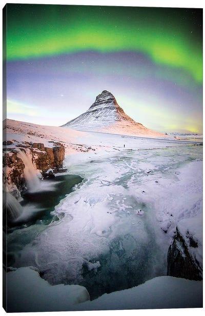The Kirkjufell Green Arch In Iceland Canvas Art Print