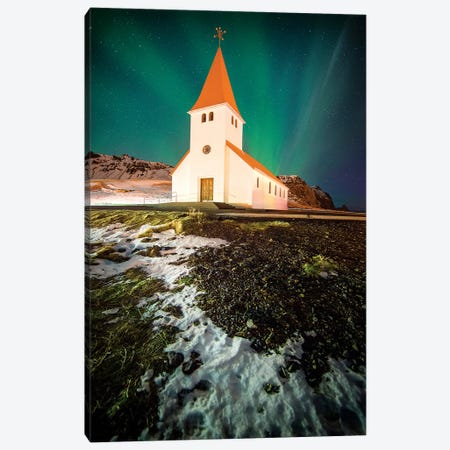 Vik Church In Iceland Canvas Print #PHM227} by Philippe Manguin Canvas Art Print