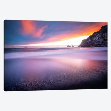 Vik Sunset Iceland Canvas Print #PHM229} by Philippe Manguin Canvas Wall Art