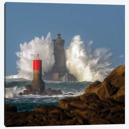 Big Wave On Lighthouse Canvas Print #PHM240} by Philippe Manguin Canvas Artwork