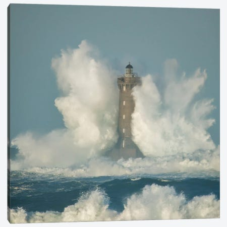 Big Wave On The Lighthouse Canvas Print #PHM241} by Philippe Manguin Canvas Wall Art