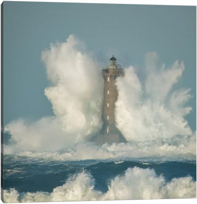 Big Wave On The Lighthouse Canvas Art Print