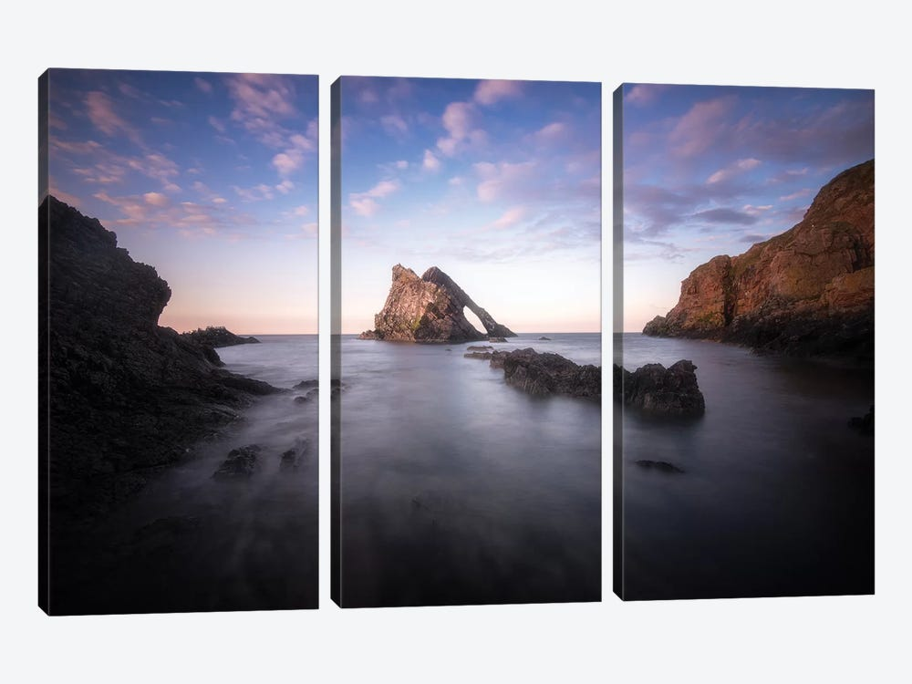 Bow Fiddle Rock In Scotland Sea by Philippe Manguin 3-piece Canvas Artwork