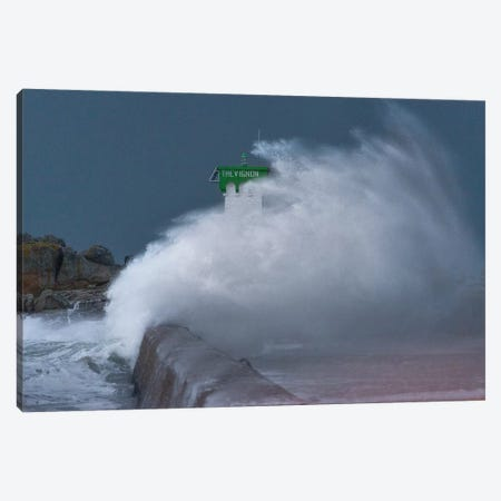 Bretagne, Le Phare De Trevignon Sous Les Vagues Canvas Print #PHM248} by Philippe Manguin Canvas Artwork