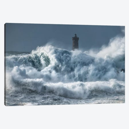 Bretagne, Tempete Sur Le Phare Du Four Canvas Print #PHM261} by Philippe Manguin Canvas Art