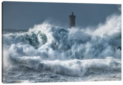 Bretagne, Tempete Sur Le Phare Du Four Canvas Art Print