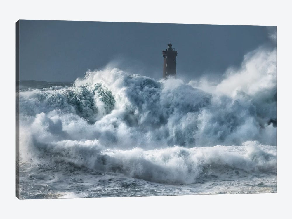 Bretagne, Tempete Sur Le Phare Du Four by Philippe Manguin 1-piece Canvas Art Print