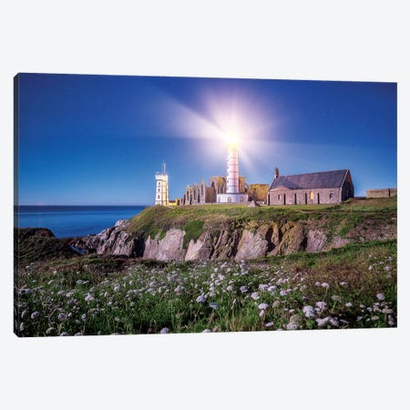 Pointe Saint Mathieu Lighthouse By Night 3-Piece Canvas #PHM313} by Philippe Manguin Canvas Art
