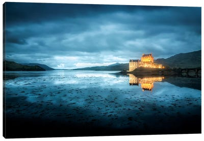 Scotland, Highlands, Eilean Donan Castle By Night  Canvas Art Print