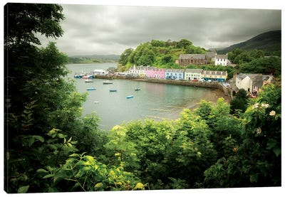 Scotland, Portree Harbor On Skye Island Canvas Art Print