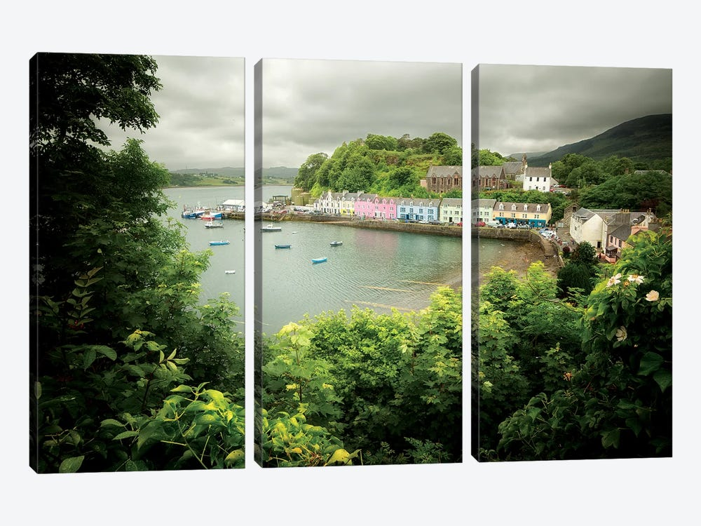 Scotland, Portree Harbor On Skye Island by Philippe Manguin 3-piece Canvas Print