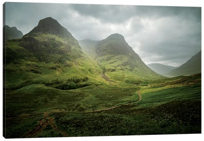 Scotland, The Road To Glencoe By The Three Sisters Canvas Art Print