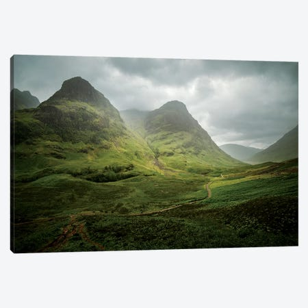 Scotland, The Road To Glencoe By The Three Sisters Canvas Print #PHM332} by Philippe Manguin Canvas Artwork