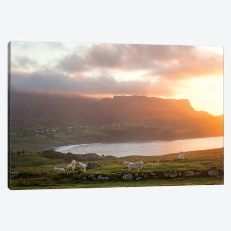 Sunset On Skye Island Grasslands, Scotland Canvas Print #PHM333} by Philippe Manguin Canvas Art