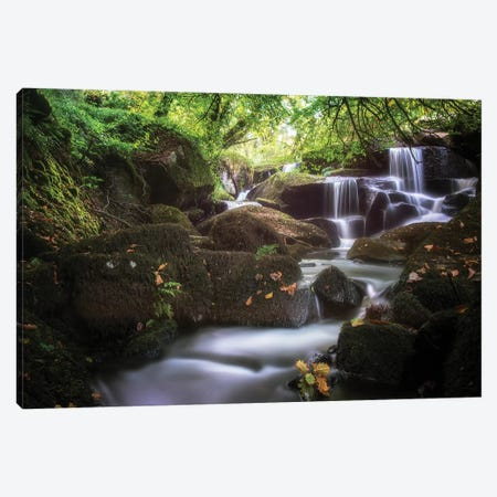 Waterfall In France, Brittany Forest Canvas Print #PHM355} by Philippe Manguin Canvas Print