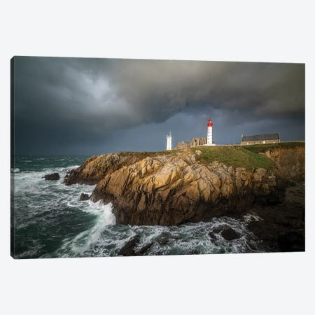 Storm On Saint Mathieu Lighthouse Canvas Print #PHM385} by Philippe Manguin Canvas Wall Art