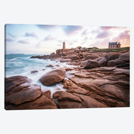 Sea Shore On Pink Granite Coast 3-Piece Canvas #PHM422} by Philippe Manguin Canvas Art