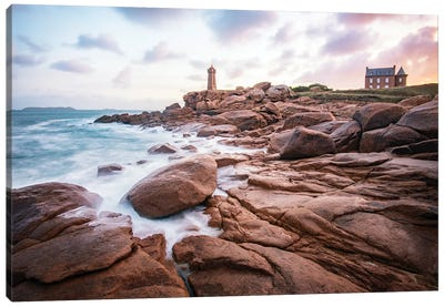 Sea Shore On Pink Granite Coast Canvas Art Print