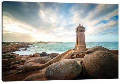 Men Ruz Lighthouse In Brittany Canvas Art Print