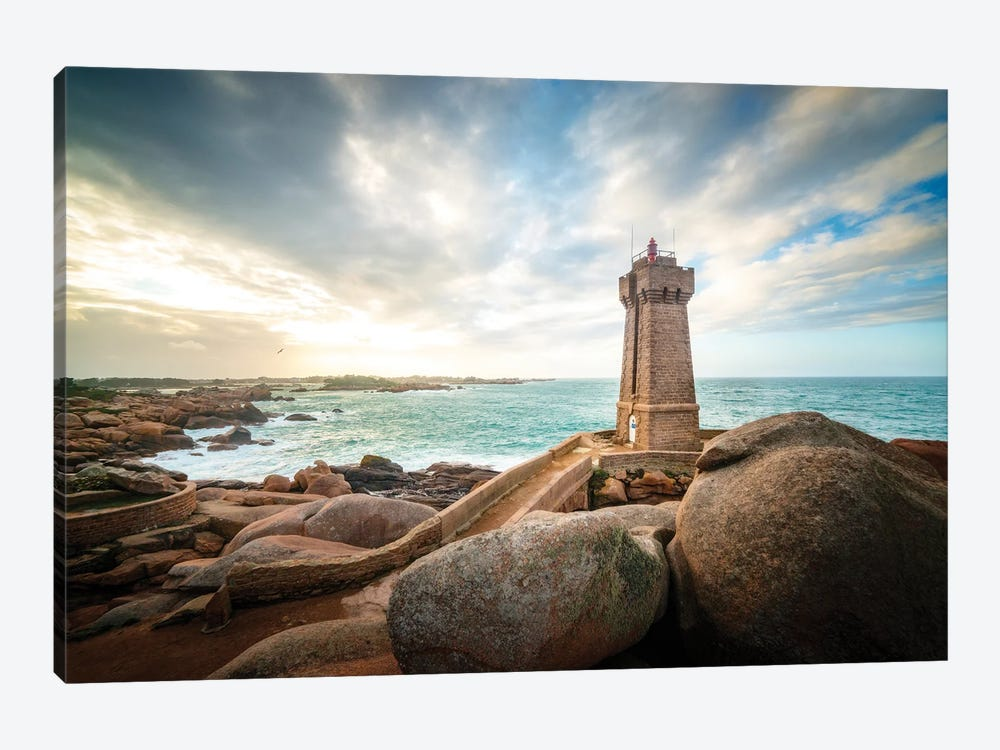 Men Ruz Lighthouse In Brittany by Philippe Manguin 1-piece Canvas Art Print
