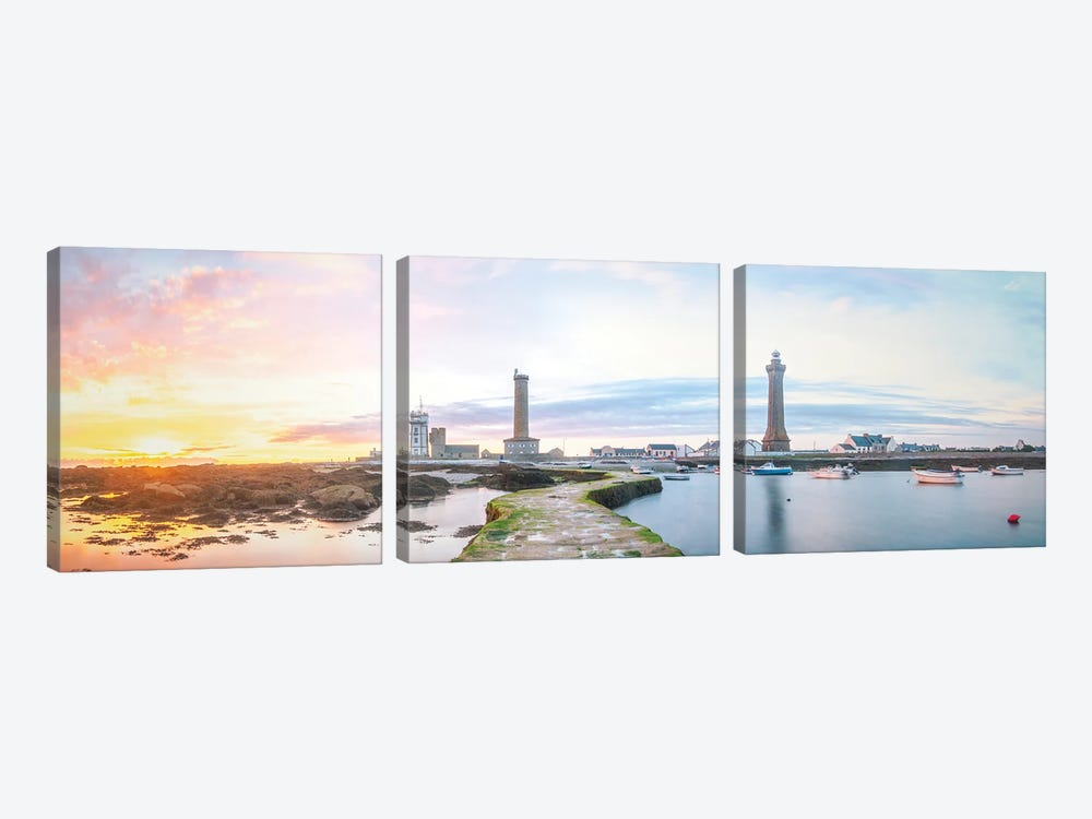 Panoramic Lighthouse In Penmarch by Philippe Manguin 3-piece Canvas Artwork