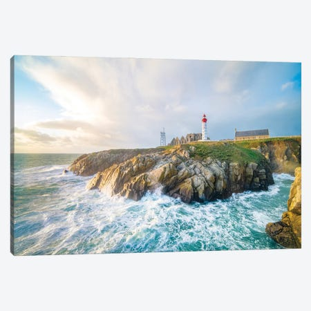 The Saint Mathieu Lighthouse In Brittany Canvas Print #PHM458} by Philippe Manguin Art Print