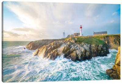 The Saint Mathieu Lighthouse In Brittany Canvas Art Print