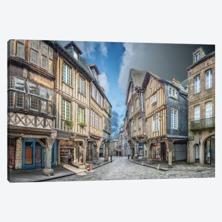 Dinan , Place Des Merciers. Canvas Print #PHM48} by Philippe Manguin Canvas Print