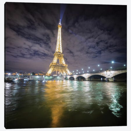 Eiffel Tower - View From The Seine Canvas Print #PHM60} by Philippe Manguin Art Print