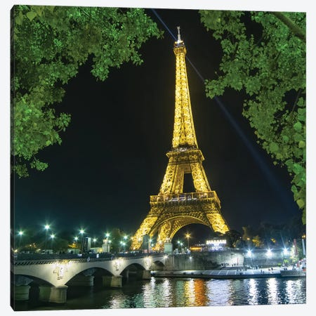 Eiffel Tower And Bridge At Night Canvas Print #PHM61} by Philippe Manguin Canvas Print