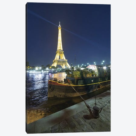 Eiffel Tower In Paris And Seine Chanel By Night Canvas Print #PHM68} by Philippe Manguin Art Print