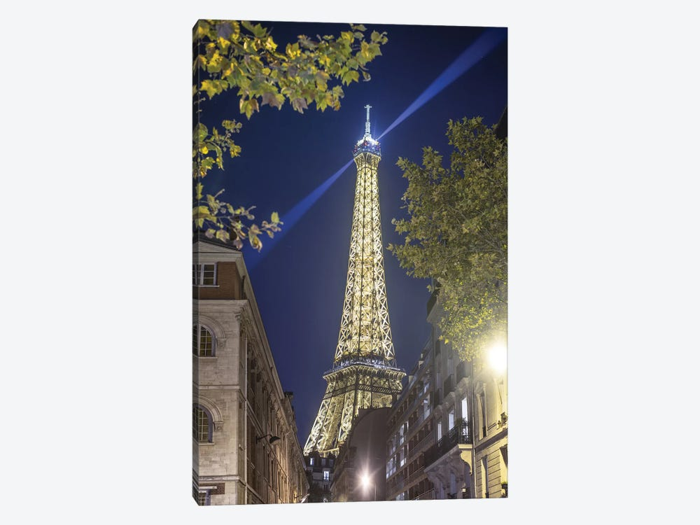 Eiffel Tower In Paris Street By Night by Philippe Manguin 1-piece Art Print