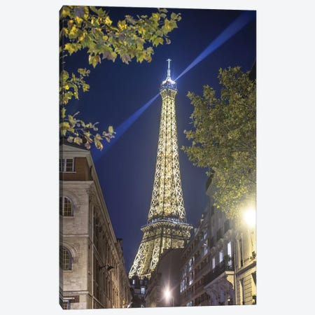 Eiffel Tower In Paris Street By Night Canvas Print #PHM69} by Philippe Manguin Art Print