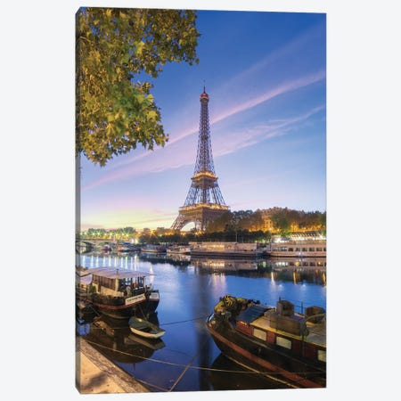 First Lights On Paris Canvas Print #PHM75} by Philippe Manguin Canvas Art Print