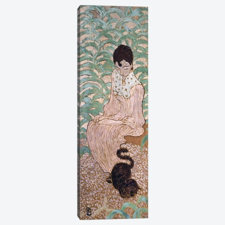 Seated Woman With A Cat, One Of Four Panels Of 'Women In The Garden', 1891 Canvas Print #PIB105} by Pierre Bonnard Canvas Wall Art