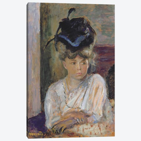 The Blue Ribbonned Hat, 1912 Canvas Print #PIB133} by Pierre Bonnard Canvas Wall Art