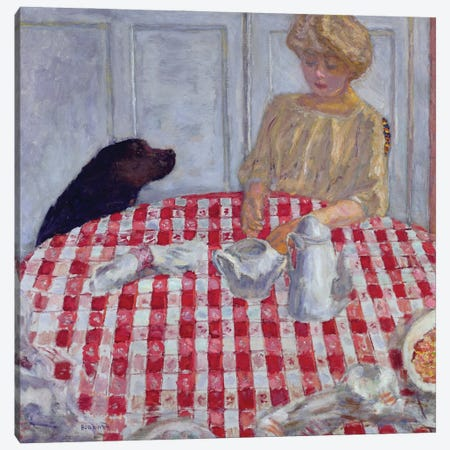 The Red Checked Table Cloth, Or The Dog'S Dinner, 1910 Canvas Print #PIB167} by Pierre Bonnard Canvas Wall Art
