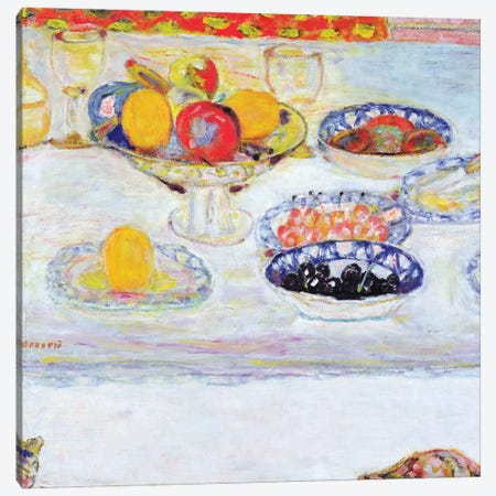 Bowl And Plates Of Fruit, 1930-32 Canvas Print #PIB17} by Pierre Bonnard Canvas Print