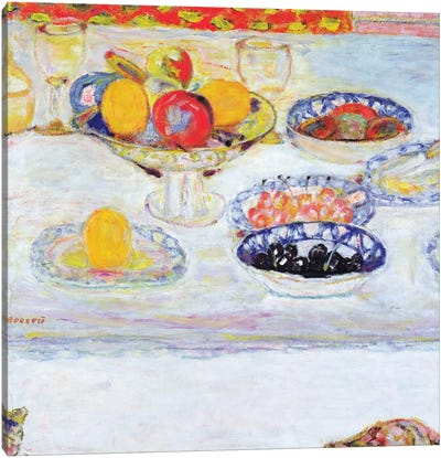 Bowl And Plates Of Fruit, 1930-32 Canvas Art Print
