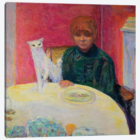 Woman With A Cat, 1912 Canvas Print #PIB200} by Pierre Bonnard Canvas Artwork