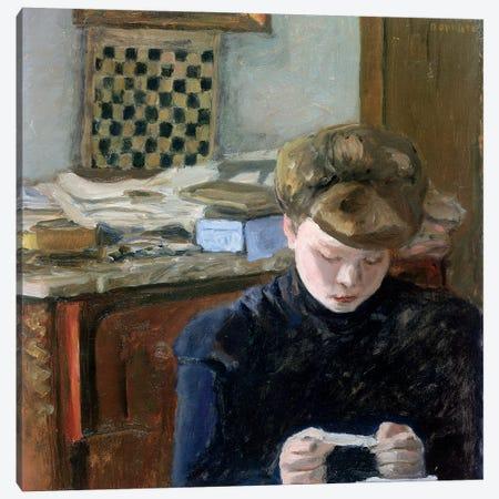 Girl Reading Canvas Print #PIB39} by Pierre Bonnard Canvas Wall Art