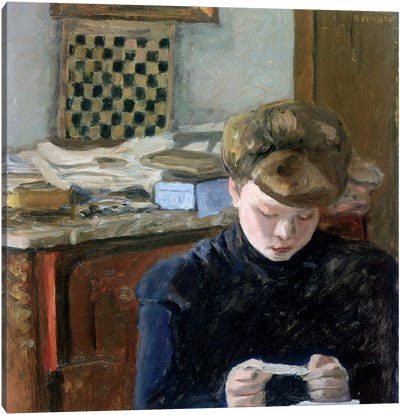 Girl Reading Canvas Art Print