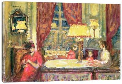 Lamp-Lit Interior With Figures Canvas Art Print
