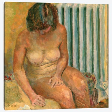 Nude By The Radiator, 1928 Canvas Print #PIB79} by Pierre Bonnard Canvas Artwork