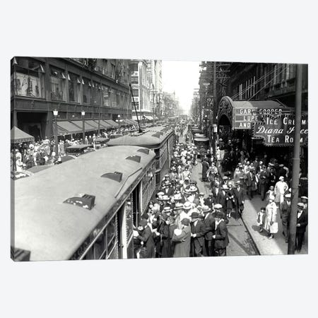 Waiting For Trolley, Vintage Photo Canvas Print #PIC100} by PI Collection Canvas Artwork